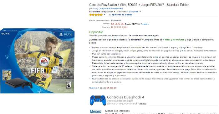 Amazon El Buen fin 2016 PS4 Slim