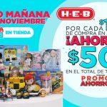 HEB $50 de descuento por cada $100 de compra en juguetes