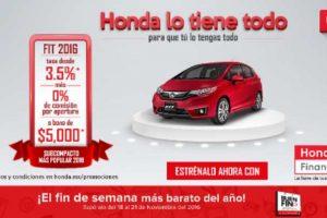 Promociones del Buen Fin 2016 en Honda