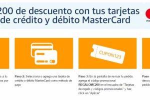 Amazon cupón de $200 de descuento con tarjetas MasterCard