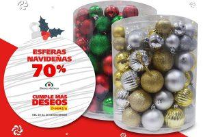 Elektra 70% de descuento en esferas navideñas