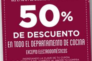 HEB cupón 50% de descuento en departamento de cocina
