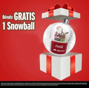 Promoción Pizza Hut Coca-Cola Gratis Adorno Navideño Snowball