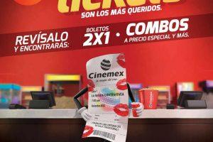 Promoción Ticketízate Cinemex 2x1 en Boletos y Combos Precio Especial