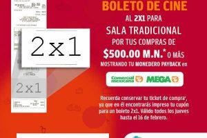 2×1 en Cinemex al comprar $500 en Comercial Mexicana y Mega