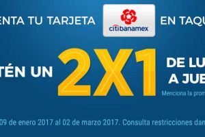 2×1 en Cinépolis con Citibanamex del 9 de Enero al 2 de Marzo 2017