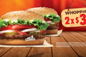 Burger King 2 hamburguesas Whopper Jr por $39 pesos