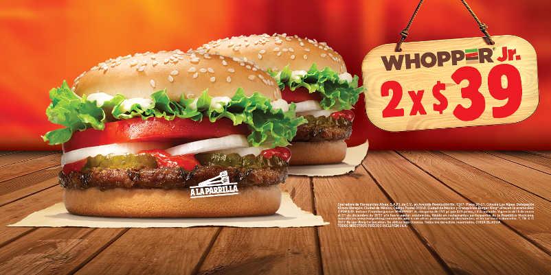 Burger King: 2 hamburguesas Whopper Jr por $39 pesos