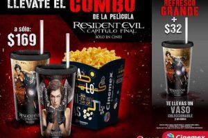 Cinemex Combo Resident Evil Capítulo Final Palomitas Grandes +2 Vasos coleccionables con Refresco a $169