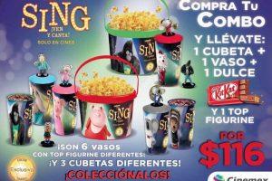Cinemex Combo Sing con vasos, cubetas y figurines de colección