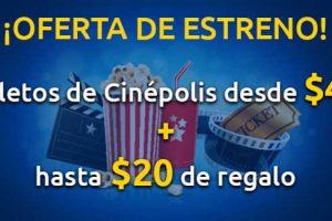 Undostres boletos de Cinepolis desde $45 más hasta $20 de regalo