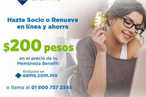 Sams Club $200 de descuento en membresía Benefits por Internet