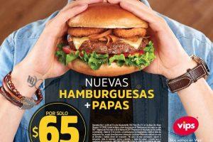 Vips: Hamburguesas + Papas por $65 a partir de la 1:00 pm