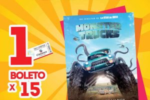 Cinemex Monster Truck Boletos a $15 Funciones matinée 4, 5 y 6 de Febrero