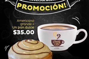 El Globo Café americano grande más pan dulce a $35