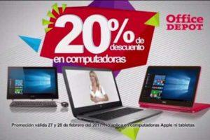 Office Depot 20% de descuento en computadoras, celulares, pantallas, discos duros y mas