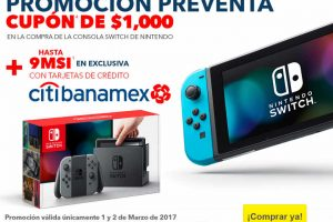 Best Buy cupon $1000 descuento en preventa Switch con tarjetas Citibanamex