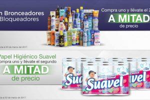 Comercial Mexicana y Mega 2x1 y medio en bronceadores y bloqueadores y papel higiénico Suavel