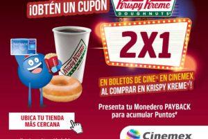 Cupón 2x1 en Cinemex al comprar en Krispy Kreme