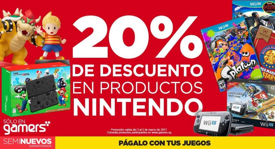 Gamers: 20% de descuento en productos nintendo del 2 al 5 de marzo