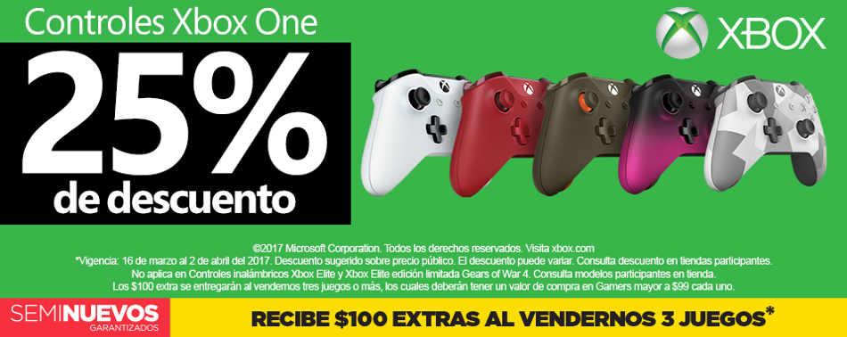 Gamers: 25% de descuento en controles Xbox One al 2 de abril 2017