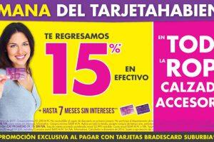 Semana del Tarjetahabiente Suburbia 15% en efectivo en calzado, ropa y accesorios