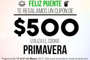 Soriana cupón de $500 pesos y mas ofertas del 17 al 21 de marzo