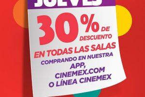 Cinemex 30% de descuento en todas las salas y funciones 27 de abril