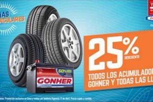 Famsa 25% de descuento en llantas y baterías Gonher