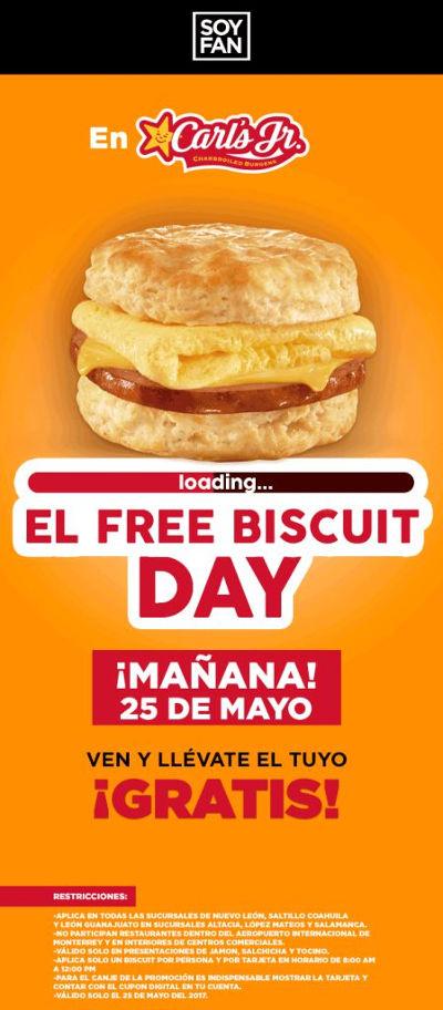 Carl's Jr: Biscuit Gratis en Nuevo Leon, Coahuila y Guanajuato 25 de Mayo