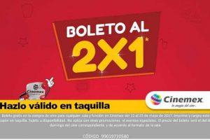 Cinemex cupón 2×1 en taquillas para todas las salas