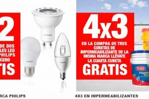 The Home Depot 3×2 en focos philips y 4×3 en impermeabilizantes