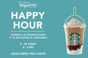 Happy Hour Starbucks 2×1 en Frapuccinos del 5 al 18 de Junio