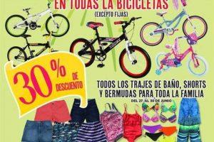 Julio Regalado 2017 30% de descuento en trajes de baño, shorts, bermudas y bicicletas