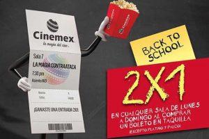 Cinemex 2×1 en boletos de lunes a domingo en cualquier sala