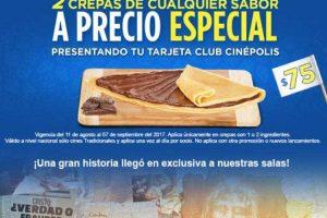 Cinépolis 2 Crepas por $75 con tarjeta Club Cinepolis