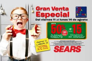 Sears Venta Especial Regreso a Clases del 11 al 14 de agosto 2017