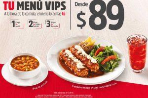 Vips nuevo menú comidas completas desde $89 pesos