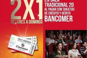 2×1 en Cinemex de Lunes a Domingo con BBVA Bancomer