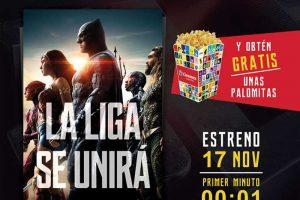 Cinemex palomitas gratis comprando boletos preventa Liga de la Justicia