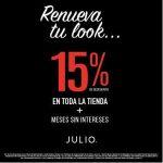 Julio: 15% de descuento en toda la tienda y meses sin intereses