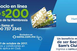 Sam's Club $200 de descuento en membresía Sams online