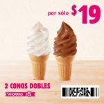 Cupones Burger King: 2x1 en Cono sencillo y Combo Whopper Jr + Sundae Jr. $45