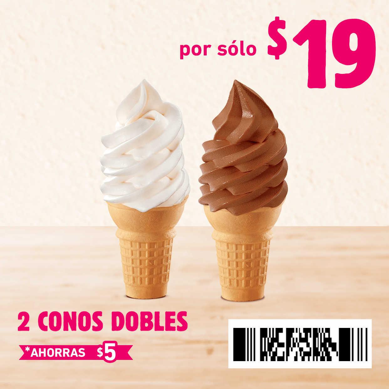 Cupones Burger King: 2×1 en Cono sencillo y Combo Whopper Jr + Sundae Jr. $45