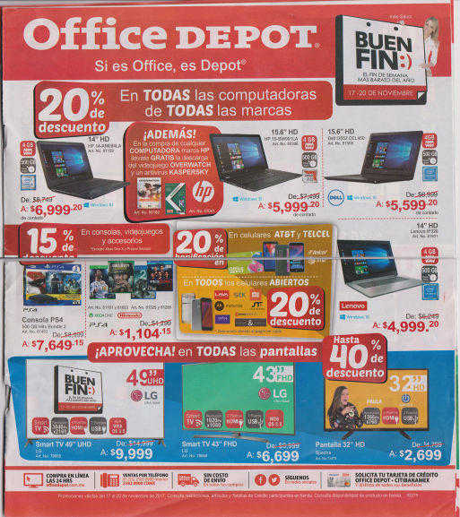 Folleto de ofertas del Buen Fin 2017 en Office Depot