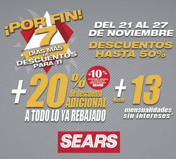 Sears – Buen Fin extendido 7 Días más de descuentos