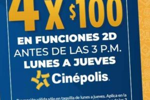 Promoción Cinèpolis 4 boletos por $100 de lunes a jueves