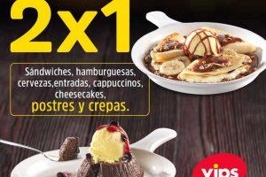 Noches de 2x1 en Vips: 2×1 en sándwiches, hamburguesas, cervezas, postres y más
