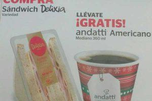 OXXO: Gratis Café Andatti Americano comprando Sandwiches Delixia
