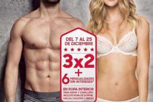Sears: 3x2 en ropa interior para dama y caballero del 7 al 25 de Diciembre